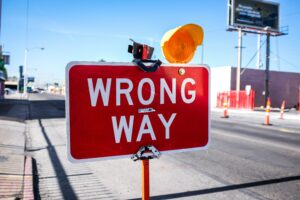 Wrong Way Schild Baustelle